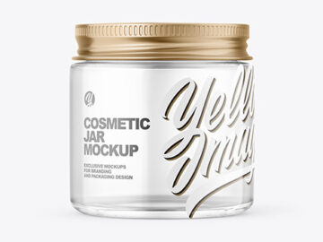Clear Glass Cosmetic Jar with Metallic Cap Mockup