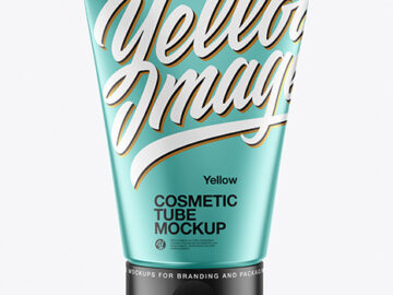 Matte Metallic Cosmetic Tube Mockup