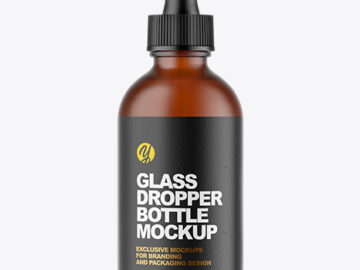 Frosted Amber Glass Dropper Bottle Mockup