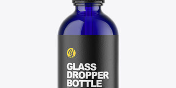 Blue Glass Dropper Bottle Mockup
