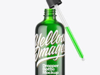 Green Glass Dropper Bottle Mockup