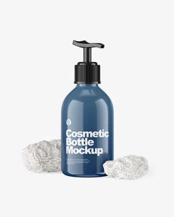 Cosmetic Bottle with Pump & Coral Sponges
