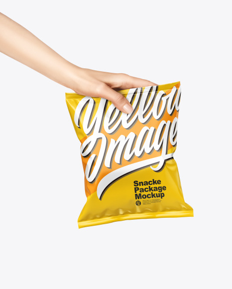 Glossy Snack Package in a Hand Mockup