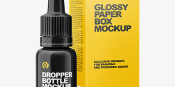 Glossy Dropper Bottle with Glossy Paper Box Mockup