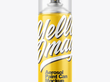 Glossy Aerosol Paint Can with Transparent Cap Mockup