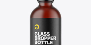 Frosted Dark Amber Glass Dropper Bottle Mockup