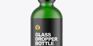 Frosted Green Glass Dropper Bottle Mockup