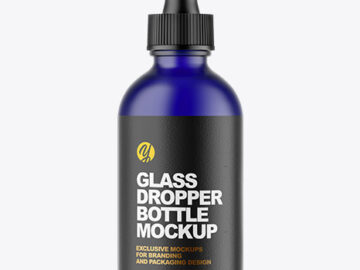 Frosted Blue Glass Dropper Bottle Mockup