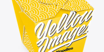 Glossy Paper Noodles Box Mockup - High Angle Shot