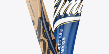 Kraft Toothbrush w/ Glossy Cosmetic Tube Mockup