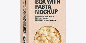Kraft Paper Box with Gnocchi Mockup