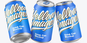 Three Metallic Drink Cans w/ Matte Finish Mockup