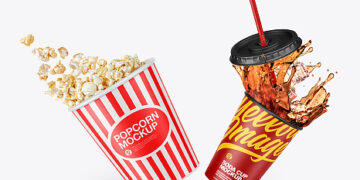 Cup Popcorn And Drink Mockup
