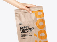 Kraft Food Bag in a Hand Mockup