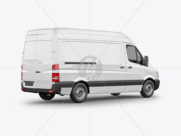 Panel Van Mockup - Back Half Side View