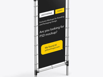 Metallic Stand w/ Matte Banner Mockup - Half Side View