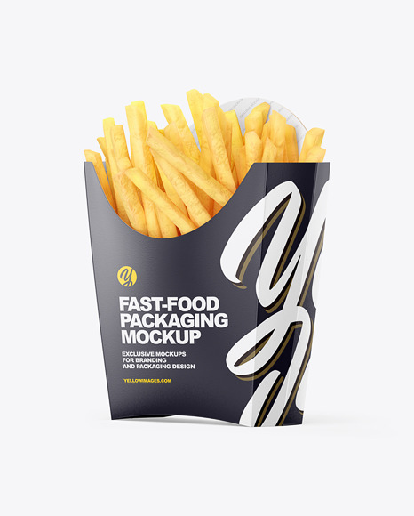 Matte Paper Medium Size French Fries Packaging Mockup - Half Side View