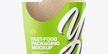 Matte Paper Medium Size Fast-Food Packaging Mockup - Half Side View