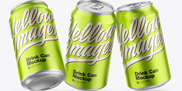Three Matte Metallic Drink Cans Mockup