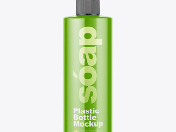 Glossy Soap Bottle with Pump Mockup - Front View