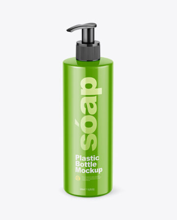 Glossy Soap Bottle with Pump Mockup - Front View (High Angle Shot)