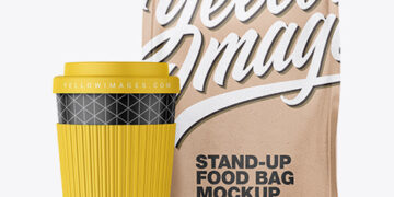 Kraft Stand-Up Bag with Coffee Cup Mockup