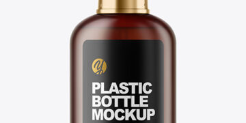 Frosted Amber Cosmetic Bottle with Pump Mockup