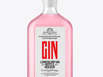 Glass Gin Bottle Mockup
