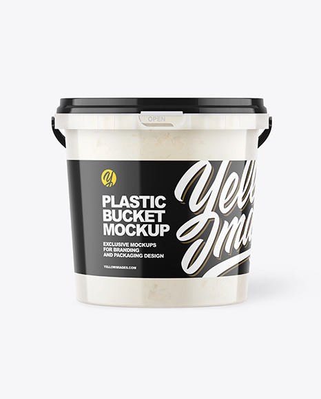 Plastic Bucket with Coconut Oil Mockup