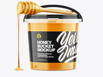 Honey Bucket with Spoon Mockup