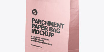 Matte Parchment Paper Shopping Bag Mockup - Half Side View