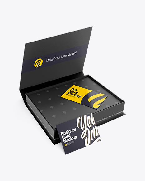 Business Cards in a Box Mockup - Half Side View