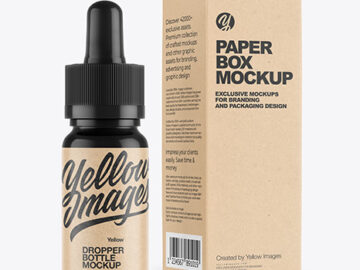 Glossy Dropper Bottle with Kraft Paper Box Mockup