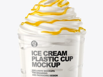Ice Cream Plastic Cup with Mango Sauce Mockup