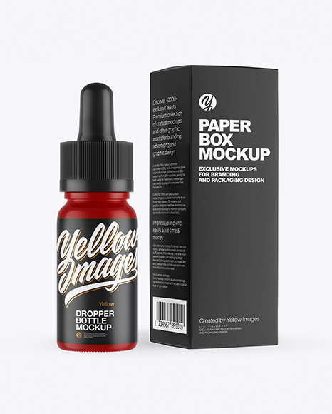 Matte Dropper Bottle with Paper Box Mockup