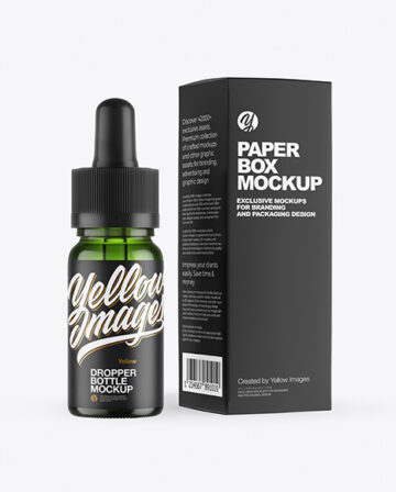 Green Glass Dropper Bottle with Paper Box Mockup