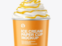 Ice Cream Paper Cup with Mango Sauce Mockup