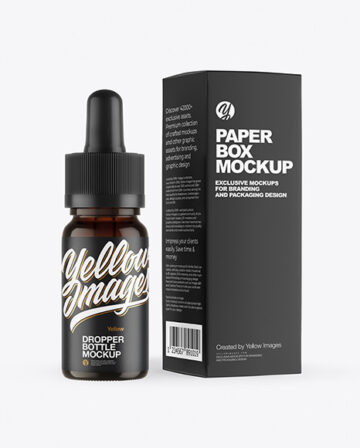 Dark Amber Glass Dropper Bottle with Paper Box Mockup
