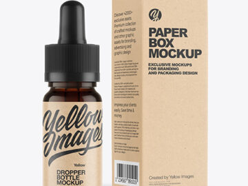 Dark Amber Glass Dropper Bottle with Kraft Paper Box Mockup