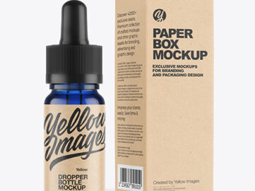 Blue Glass Dropper Bottle with Kraft Paper Box Mockup