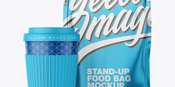 Metallic Stand-Up Bag with Coffee Cup Mockup