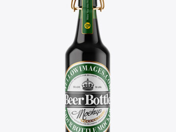 Green Glass Dark Beer Bottle Mockup
