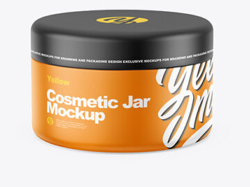Closed Matte Plastic Cosmetic Jar Mockup - Front View (High-Angle Shot)