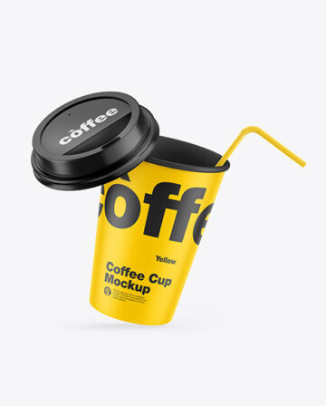 Matte Coffee Cup w/ Straw Mockup