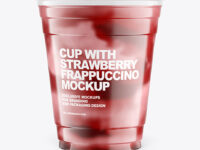 Cup With Strawberry Frappuccino Mockup