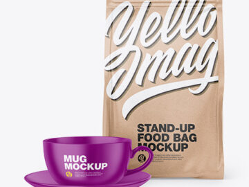 Kraft Stand-Up Bag with Coffee Mug Mockup