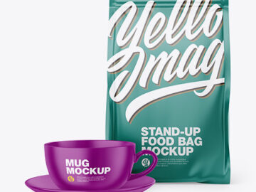 Matte Stand-Up Bag with Matte Coffee Mug Mockup