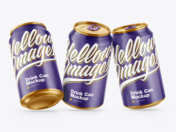 Three Metallic Drink Cans w/ Glossy Finish Mockup