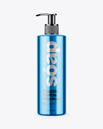 Metallic Soap Bottle with Pump Mockup - Front View