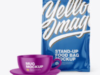 Glossy Stand-Up Bag with Coffee Mug Mockup